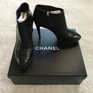 Chanel Lambskin Booties Short Black Boots Box 39.5
